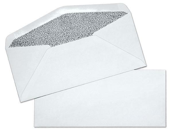10 24lb white wove regular black inside tint commercial for 10 window envelope size