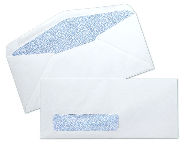 10 24lb white wove standard window blue inside tint for 10 window envelope size