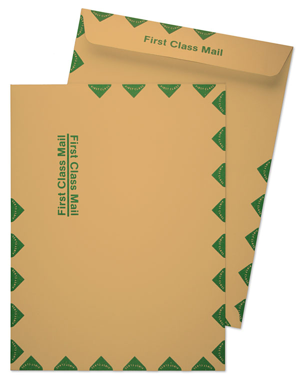 10 x 13 catalog 28lb brown kraft first class mail green